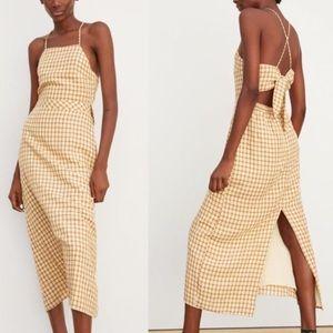 Zara Checkered Backless Tie Jumper Halter Dress